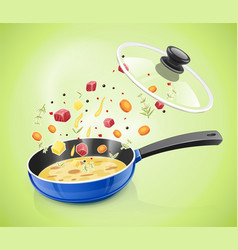 Blue pan with lid kitchen vector