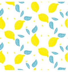 bright summer juicy lemon cartoon seamless pattern vector image