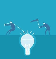 Business man dig the idea concept vector