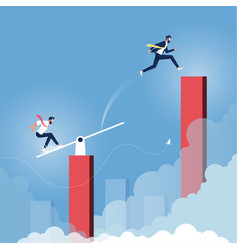 Business teamwork to reach goals and achieving vector