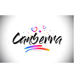 Canberra welcome to word text with love hearts vector