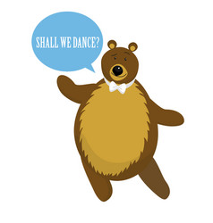 Cartoon bear dance for invitation or card vector