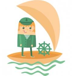 cartoon captain in boat vector image