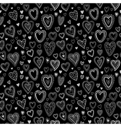 Chalk hearts sketch seamless texture vector image