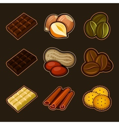 Chocolate and coffee icon set vector image