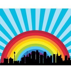 City and rainbow vector