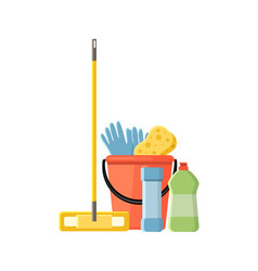 cleaning supplies in flat cartoon style vector image