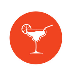 cocktail wineglass icon placed in bright red vector image
