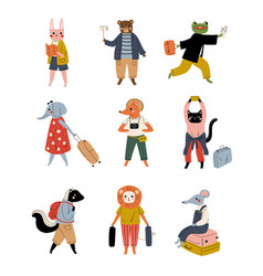 Collection cute animals tourists with suitcases vector