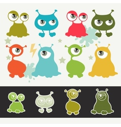 Collection cute cartoon little monsters vector