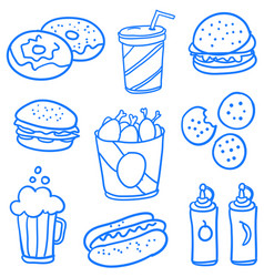 Collection of food style doodle set vector