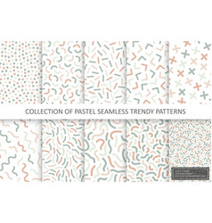 collection trendy seamless delicate patterns vector image