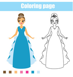 Coloring page princess educational game vector
