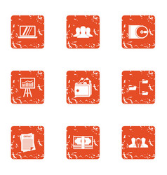Command option icons set grunge style vector