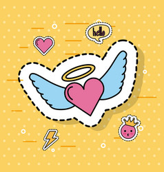 cute romantic love heart with wings vector image