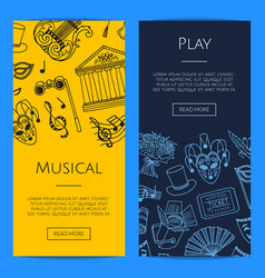 doodle theatre elements banners vector image