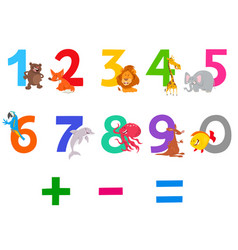 educational numbers set with cute cartoon animals vector image
