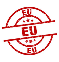 Eu red round grunge stamp vector