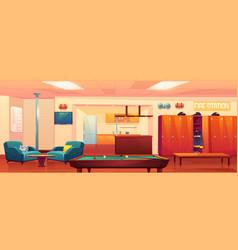 fire station recreation room empty interior vector image