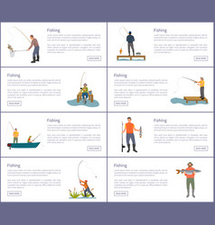 fishing people hobbies set vector image