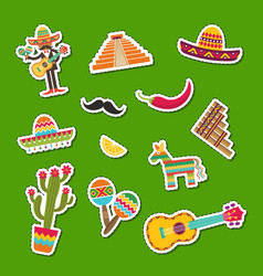flat mexico attributes sticker set vector image