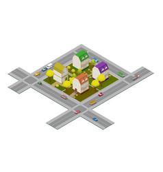 Flat street and houses landscape gps navigation vector