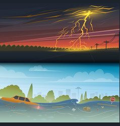 Flood or natural disaster lightning strike and vector