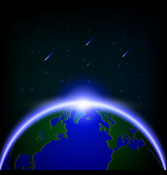 Galaxy global illuminated and meteor showers vector
