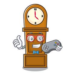 gamer grandfather clock mascot cartoon vector image