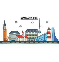 germany kiel city skyline architecture vector image