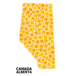Gold rotated square mosaic map alberta province vector