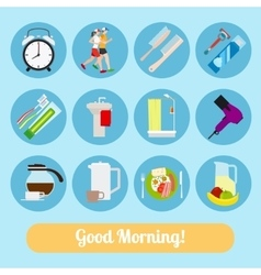 Good Morning Time Icons vector image