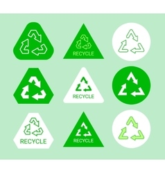 Green and white ecological recycle symbol sticker vector image