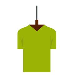 Green tshirt on hanger icon flat style vector