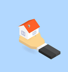 Hand holds the house isometric vector