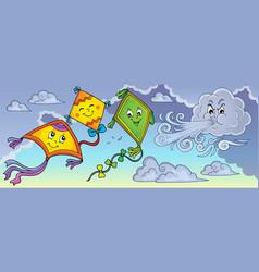 Happy autumn kites topic image 1 vector
