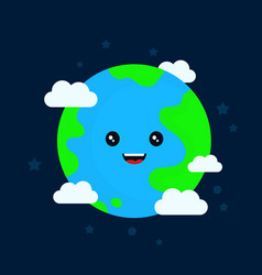 Happy funny cute smiling earth character vector