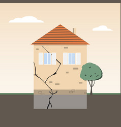 House wall with crack in foundation partial vector