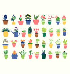 Houseplants icons set flat collection vector