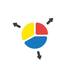icon concept of three parts of diagram pie vector image