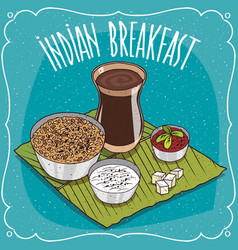 indian breakfast with muesli or oatmeal vector image