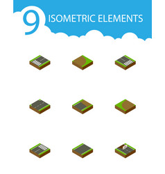 Isometric way set of turning unfinished upwards vector