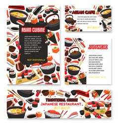 Japanese cuisine poster for sushi food vector