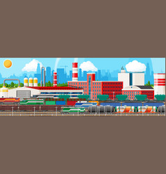 landscape of cargo rail transportation with plant vector image