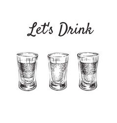 Lets drink three kinds alcoholic drinks in vector