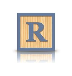 Letter r wooden alphabet block vector