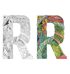 Letter r zentangle for coloring decorative vector