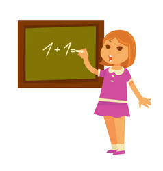 Little redhead girl solves mathematical example vector