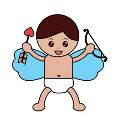 love cupid holding bow and arrow vector image