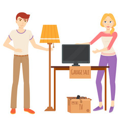 man and woman selling items at garage sale vector image
